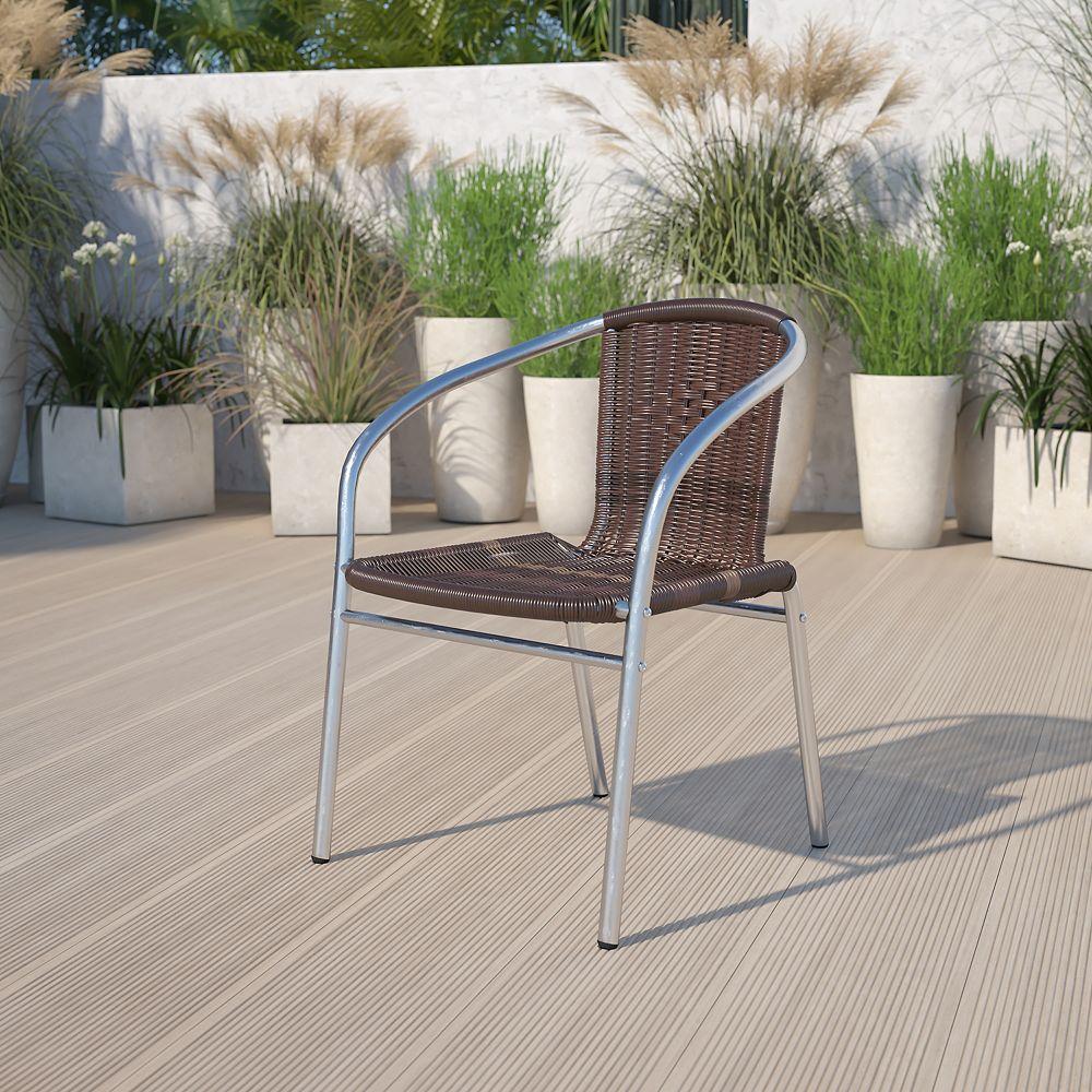 Flash Furniture Chaise en aluminium et rotin brun