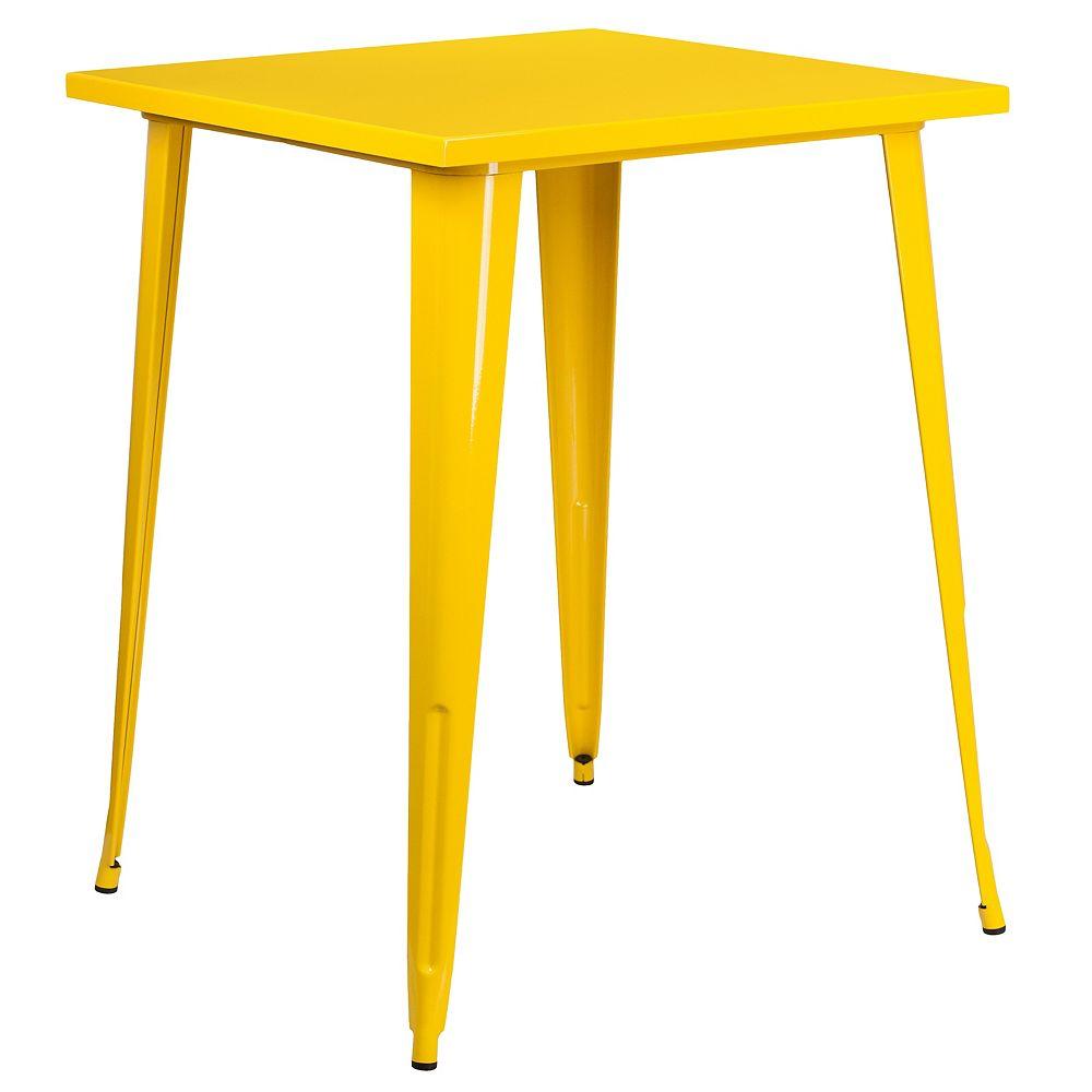 Flash Furniture 31.5SQ Yellow Metal Bar Table