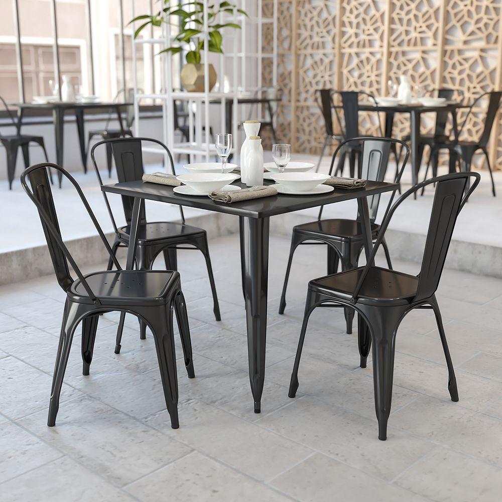 Flash Furniture 35.5SQ Black Metal Table