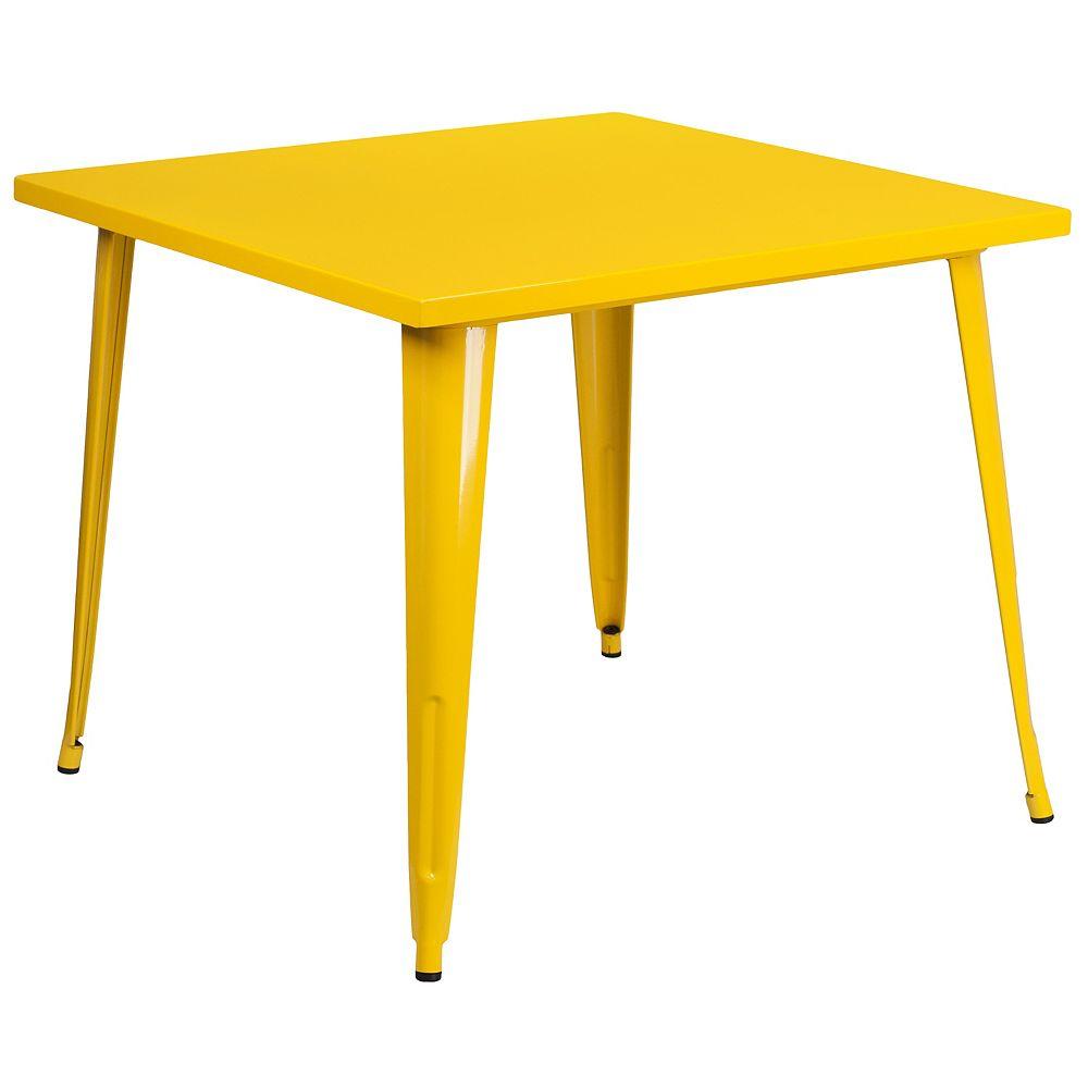 Flash Furniture Table intérieure-extérieure en métal jaune carrée de 35,5 po de côté