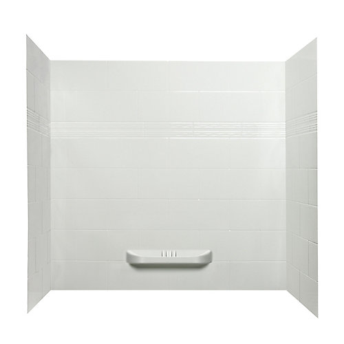 Catalina 3-Piece Acrylic Alcove Tub and Shower Wall Kit with Integrated Shelf in White