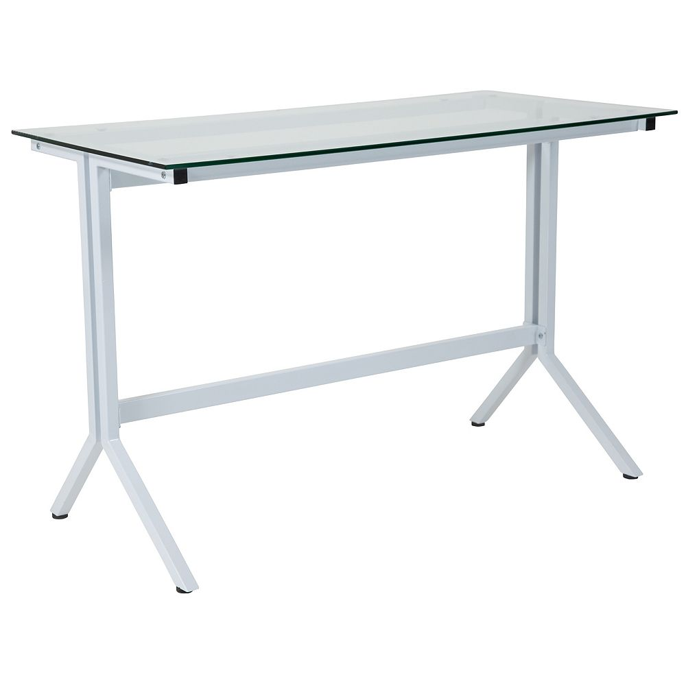 Flash Furniture Glass Desk with White Base