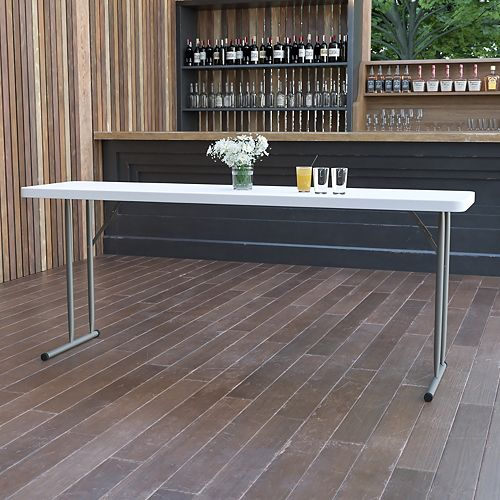 Table de formation pliante en plastique blanc granite de 18 po larg. x 72 po long.