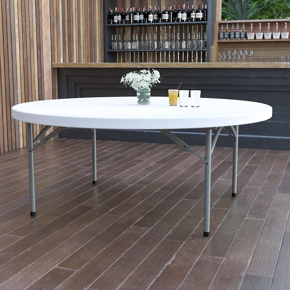 Flash Furniture 72RD White Plastic Fold Table