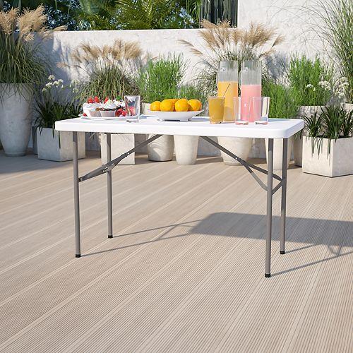 Table pliante en plastique blanc granite de 24 po larg. x 48 po long.