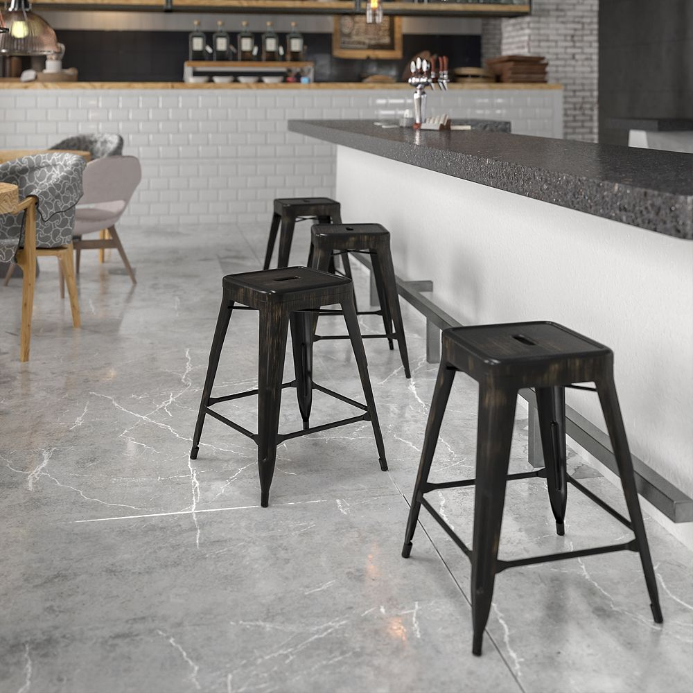 "Flash Furniture ""24"""" Black No Back Metal Stool"""