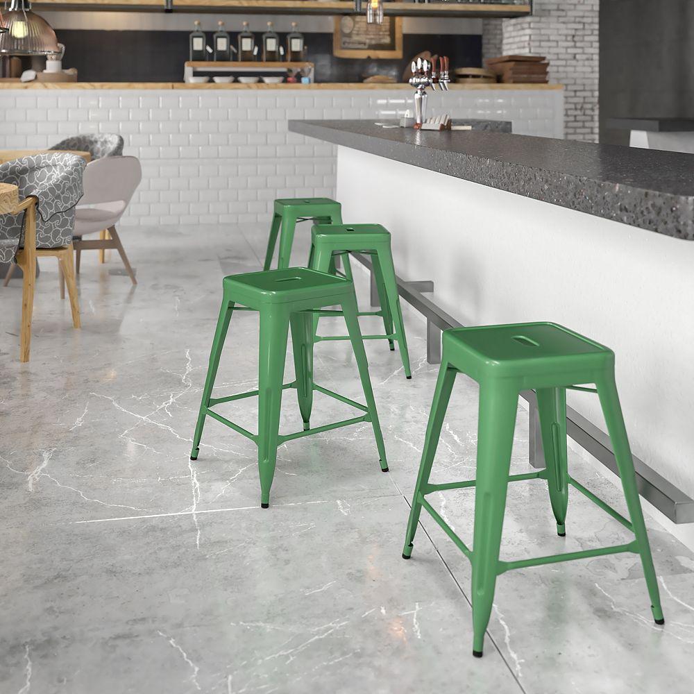 Flash Furniture Tabouret sans dossier en métal vert de 24 po haut.
