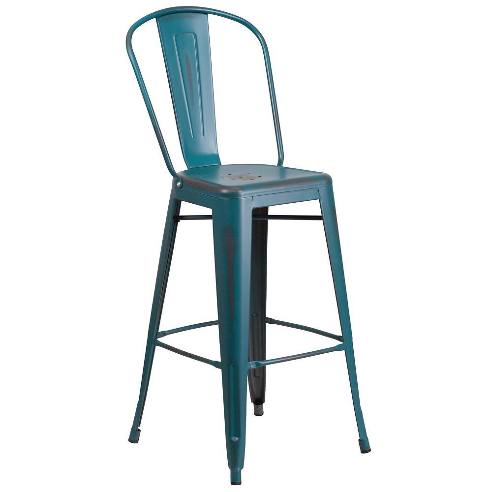 Flash Furniture Distressed Blue-TL Metal Stool