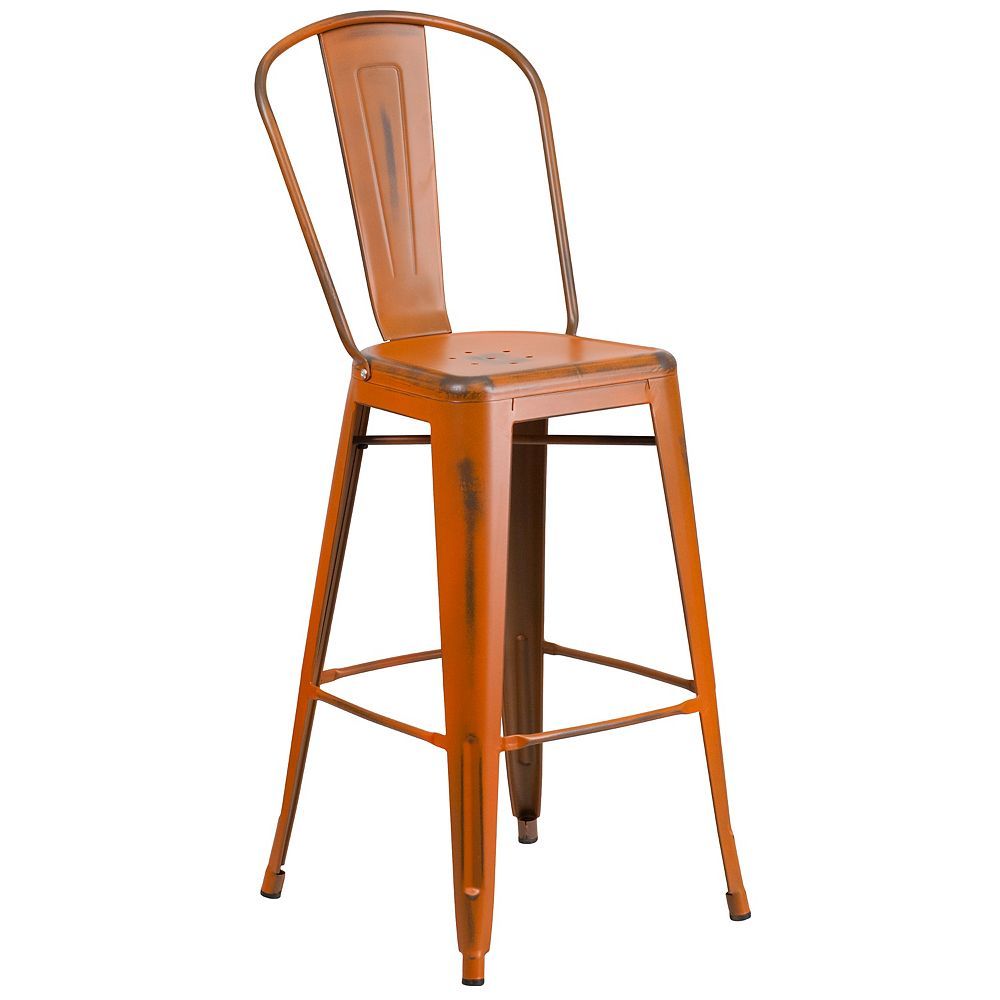 Flash Furniture Distressed Orange Metal Stool
