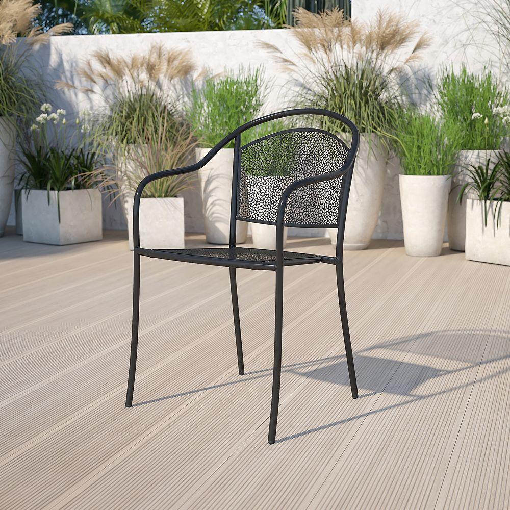 Flash Furniture Black Round Back Patio Chair