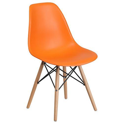 Orange Plastic/Wood Chair