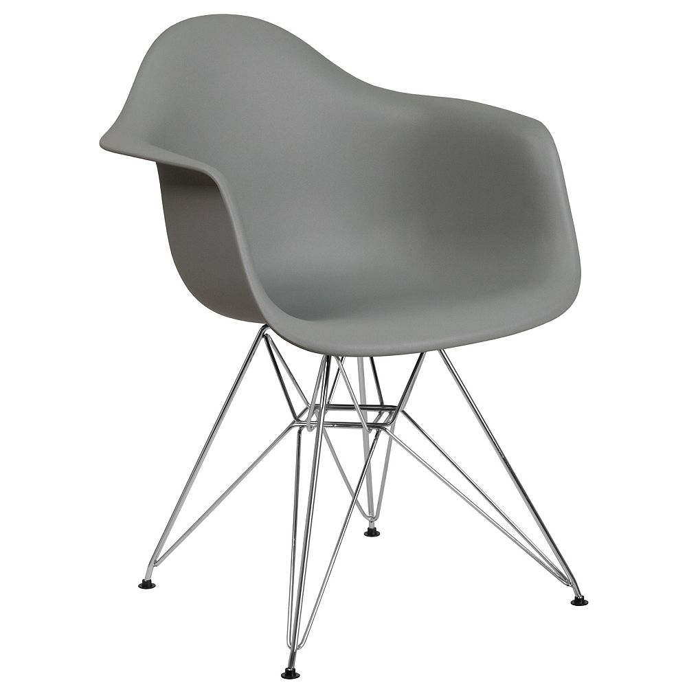 Flash Furniture Gray Plastic/Chrome Chair