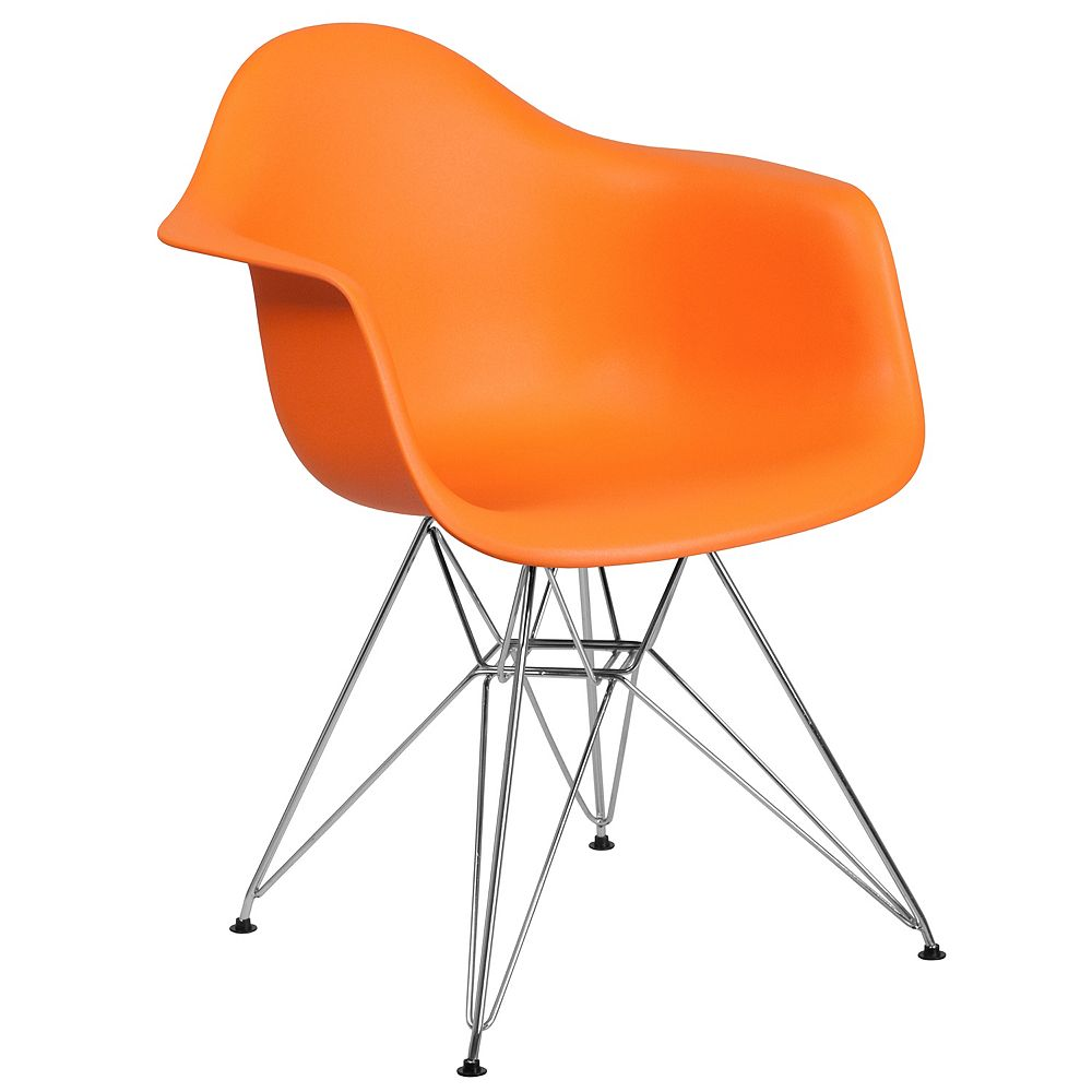 Flash Furniture Orange Plastic/Chrome Chair