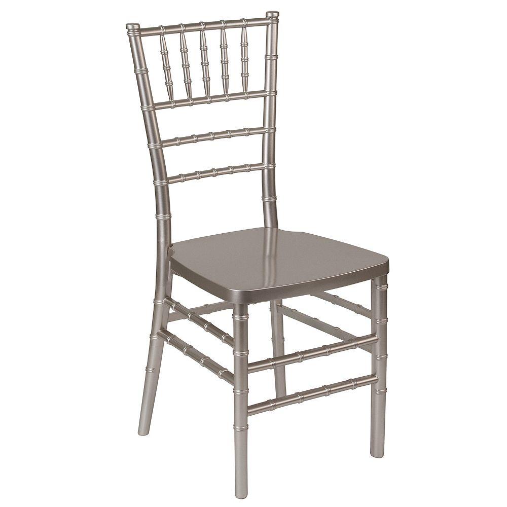 Flash Furniture Chaise Chiavari empilable en résine étain de la série HERCULES PREMIUM