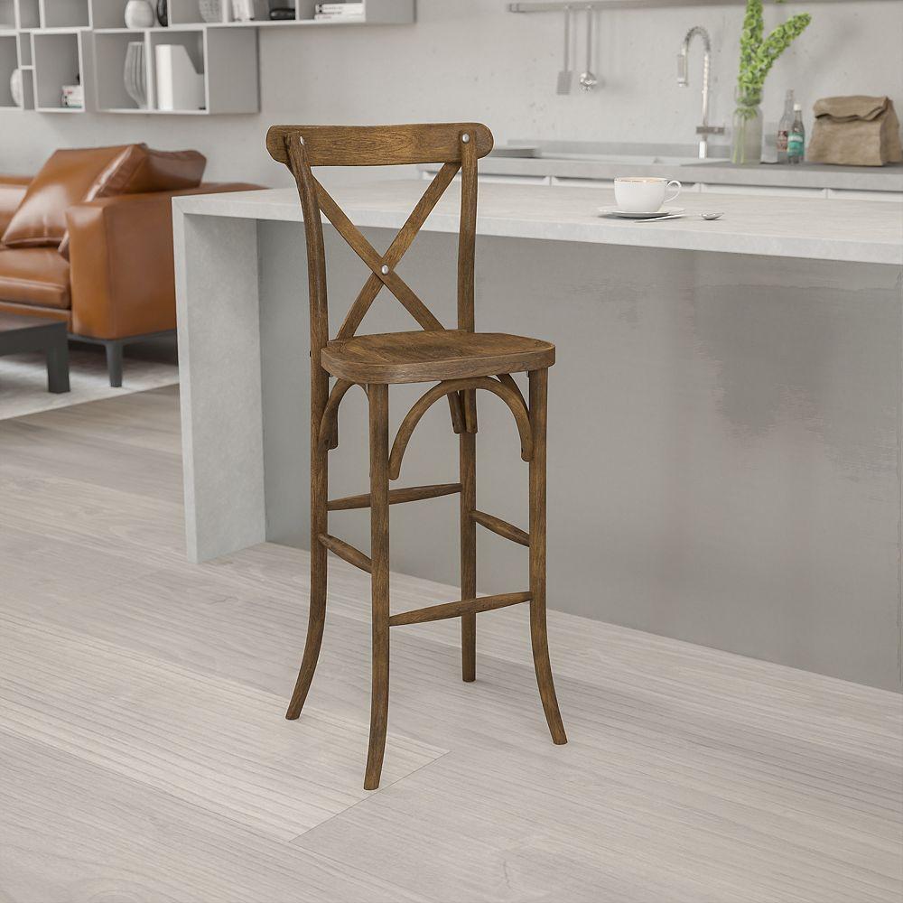 Flash Furniture Antique Cross Back Barstool