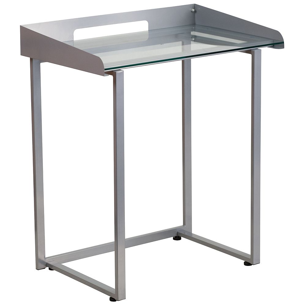 Flash Furniture Glass Raised Border Desk