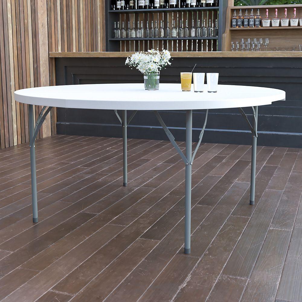 Flash Furniture 60RD White Plastic Fold Table