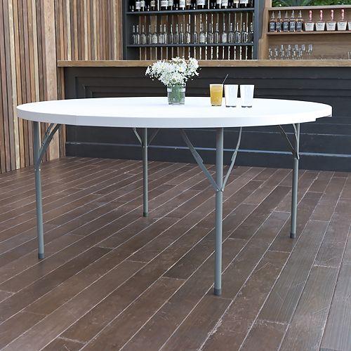 60RD White Plastic Fold Table