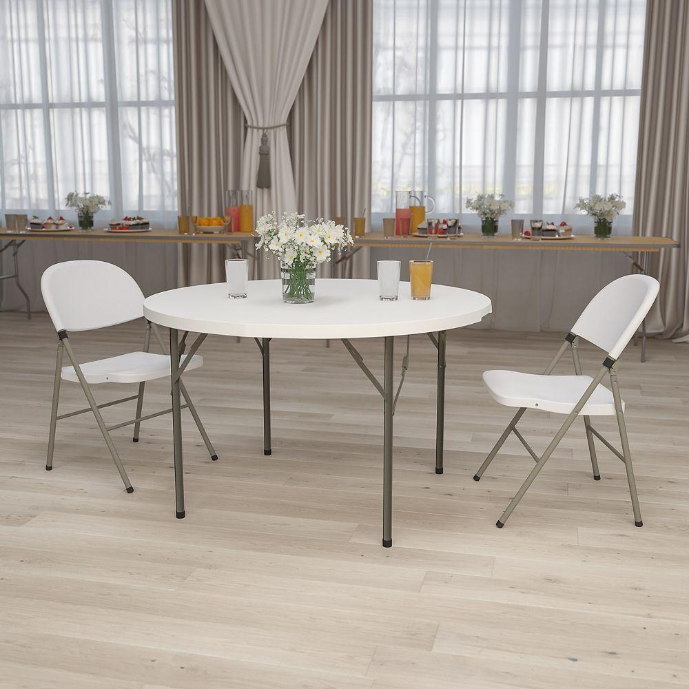 Flash Furniture 48RD White Plastic Fold Table