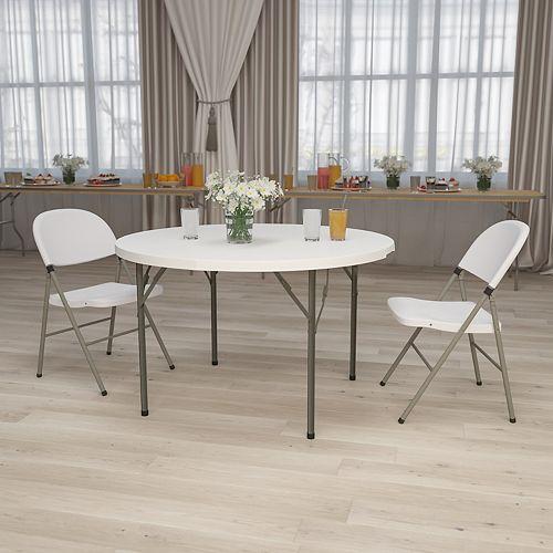 Table ronde pliante de 48 po en plastique blanc granite