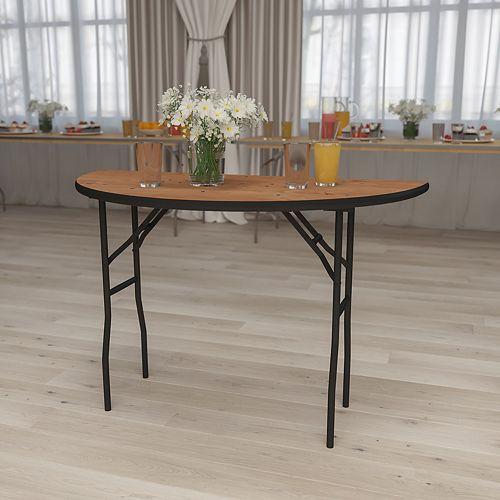 Table de banquet pliante demi-ronde de 48 po en bois