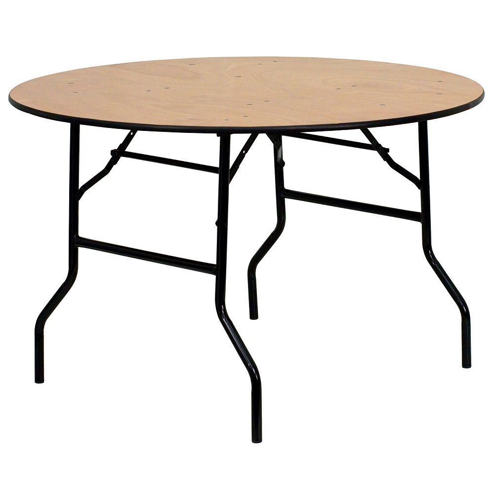 Flash Furniture Table de banquet pliante ronde de 48 po en bois avec plateau de finition lustrée