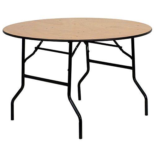 Table de banquet pliante ronde de 48 po en bois avec plateau de finition lustrée