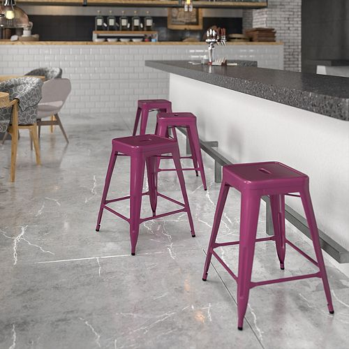 """24"""" Purp No Back Metal Stool"""