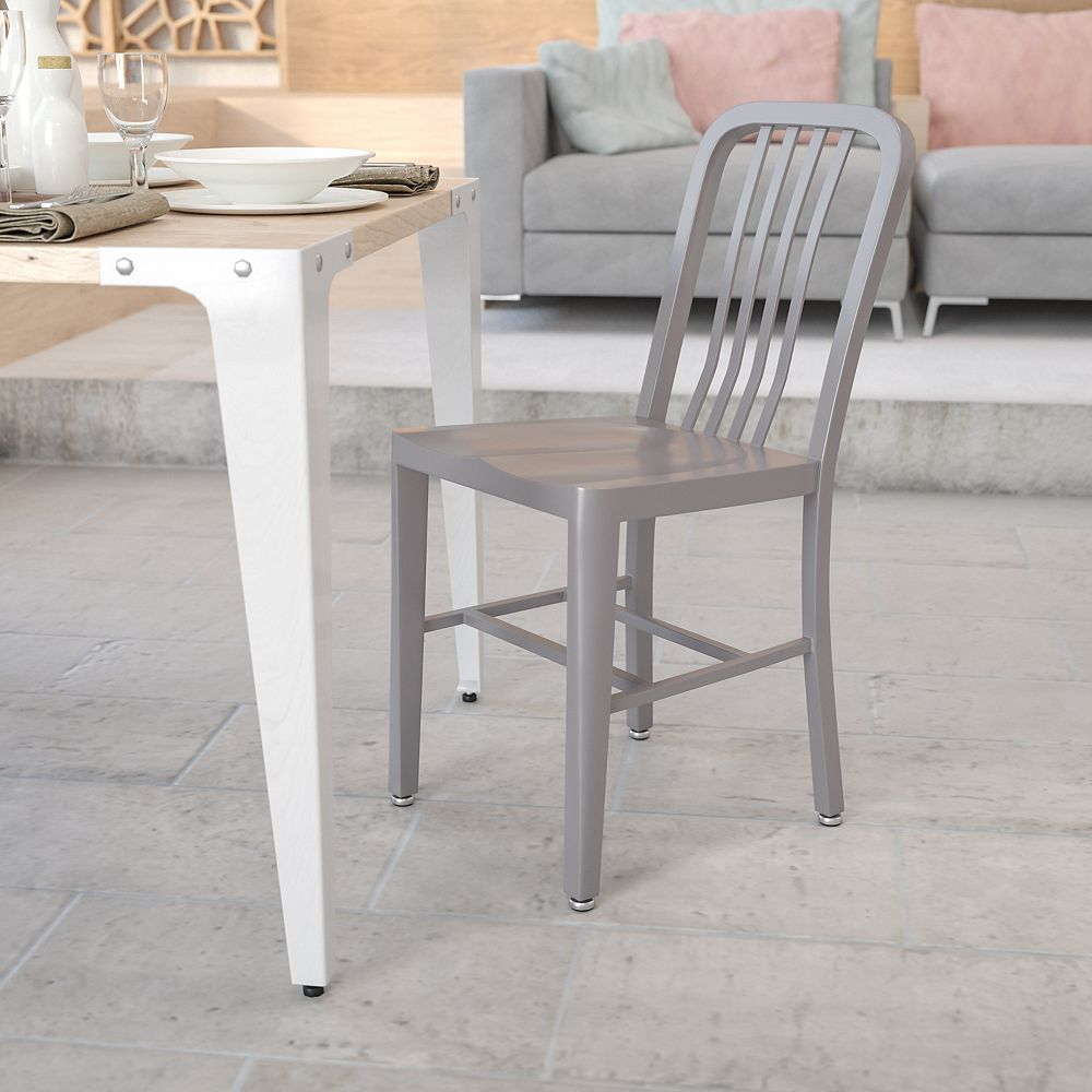 Flash Furniture Silver Indoor-Outdoor Chair