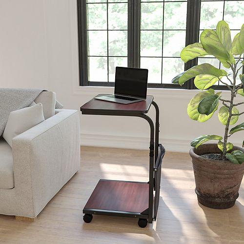 Sit-Stand Mahogany Desk