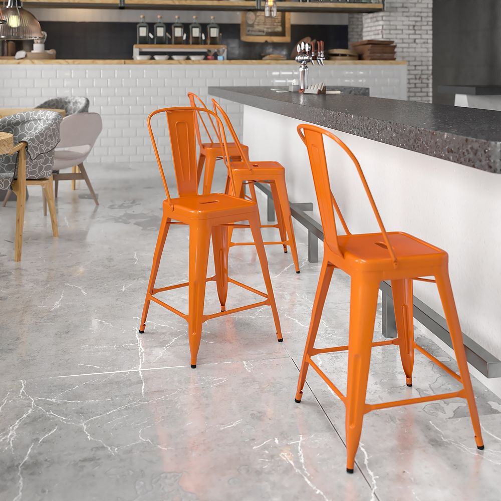 "Flash Furniture ""24"""" Orange Metal Outdoor Stool"""