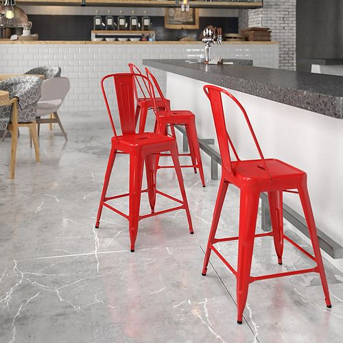 """24"""" Red Metal Outdoor Stool"""