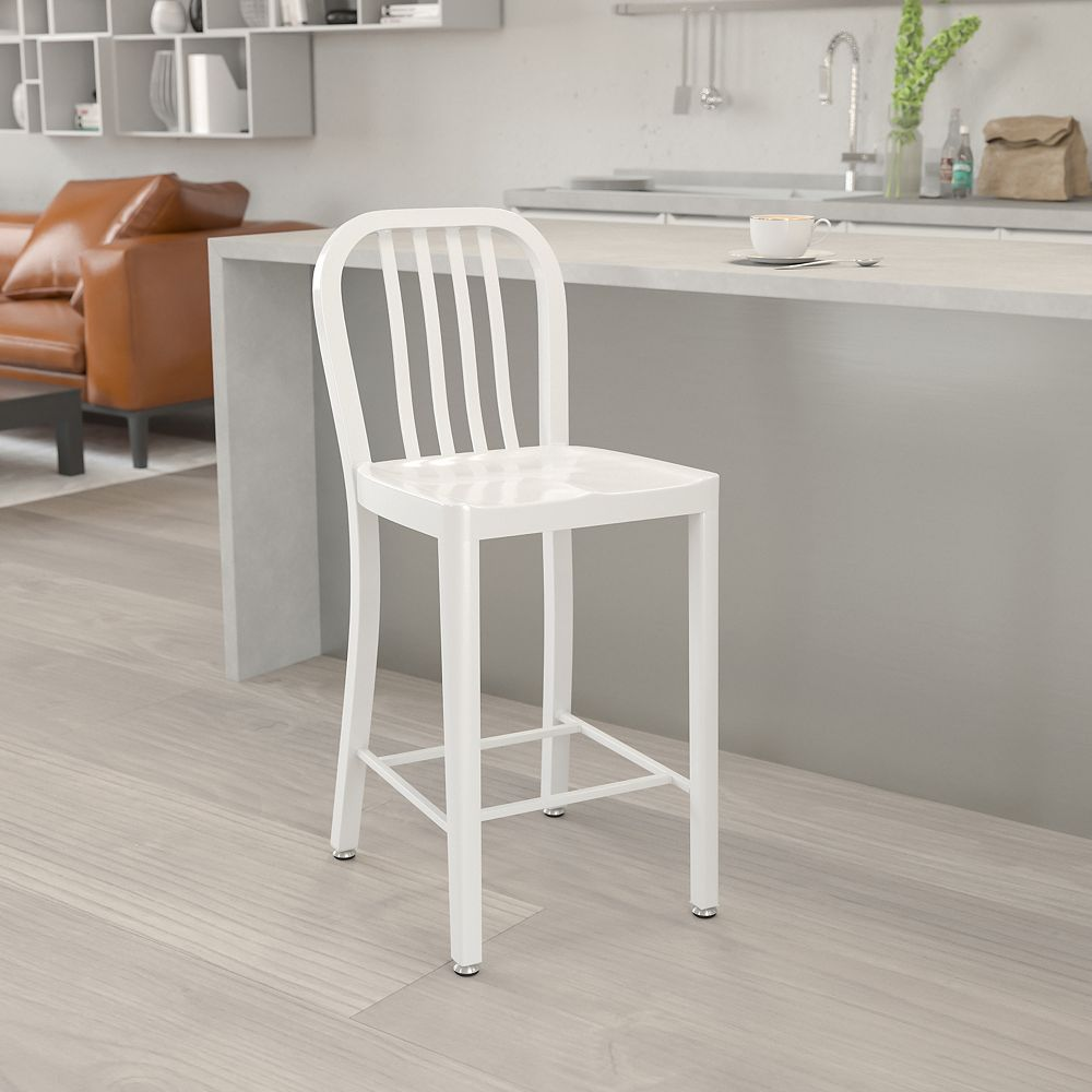 """Flash Furniture """"24"""""""" White Metal Outdoor Stool"""""""