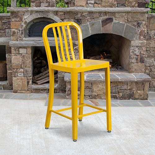 """24"""" Yellow Metal Outdoor Stool"""