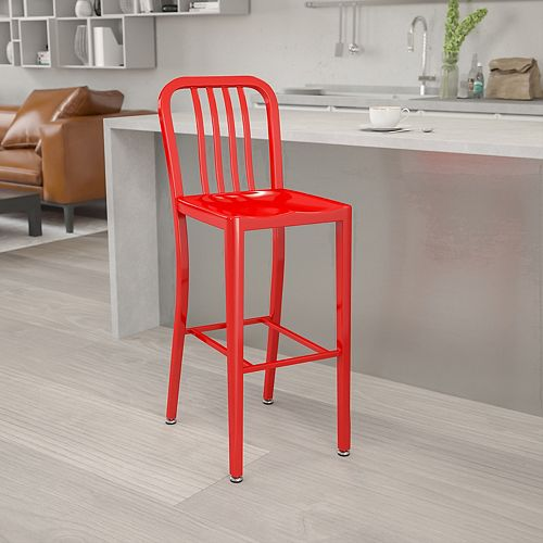 """30"""" Red Metal Outdoor Stool"""