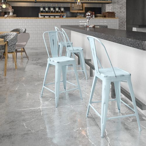 Distressed Gn-Blue Metal Stool