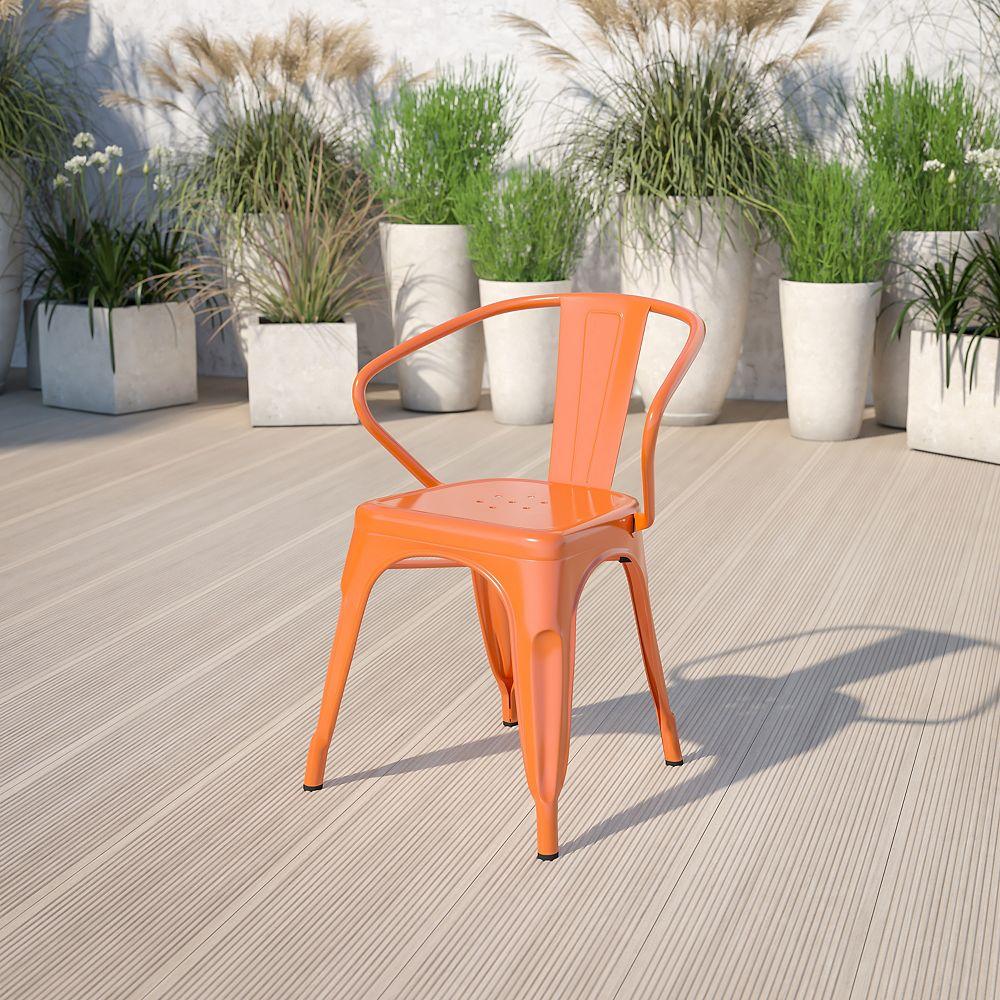 Flash Furniture Orange Metal Chair With Arms