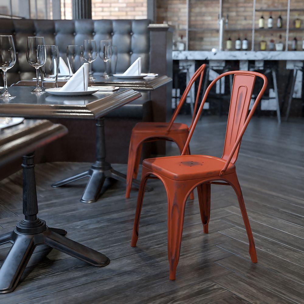 Flash Furniture Chaise empilable intérieure/extérieure en métal vieilli rouge Kelly