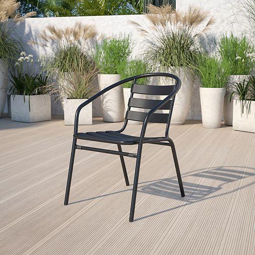 Black Aluminum Slat Chair
