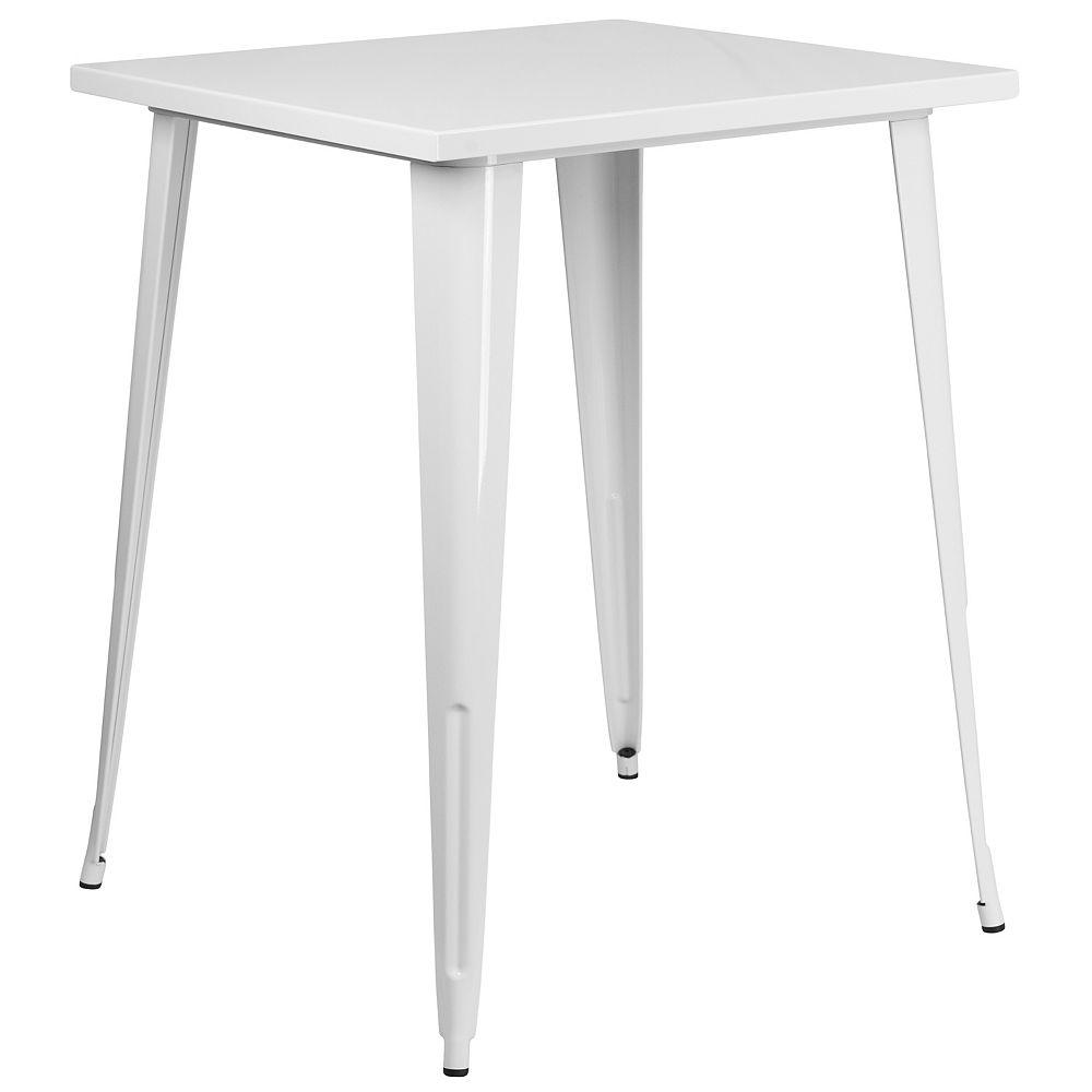 Flash Furniture 31.5SQ White Metal Bar Table