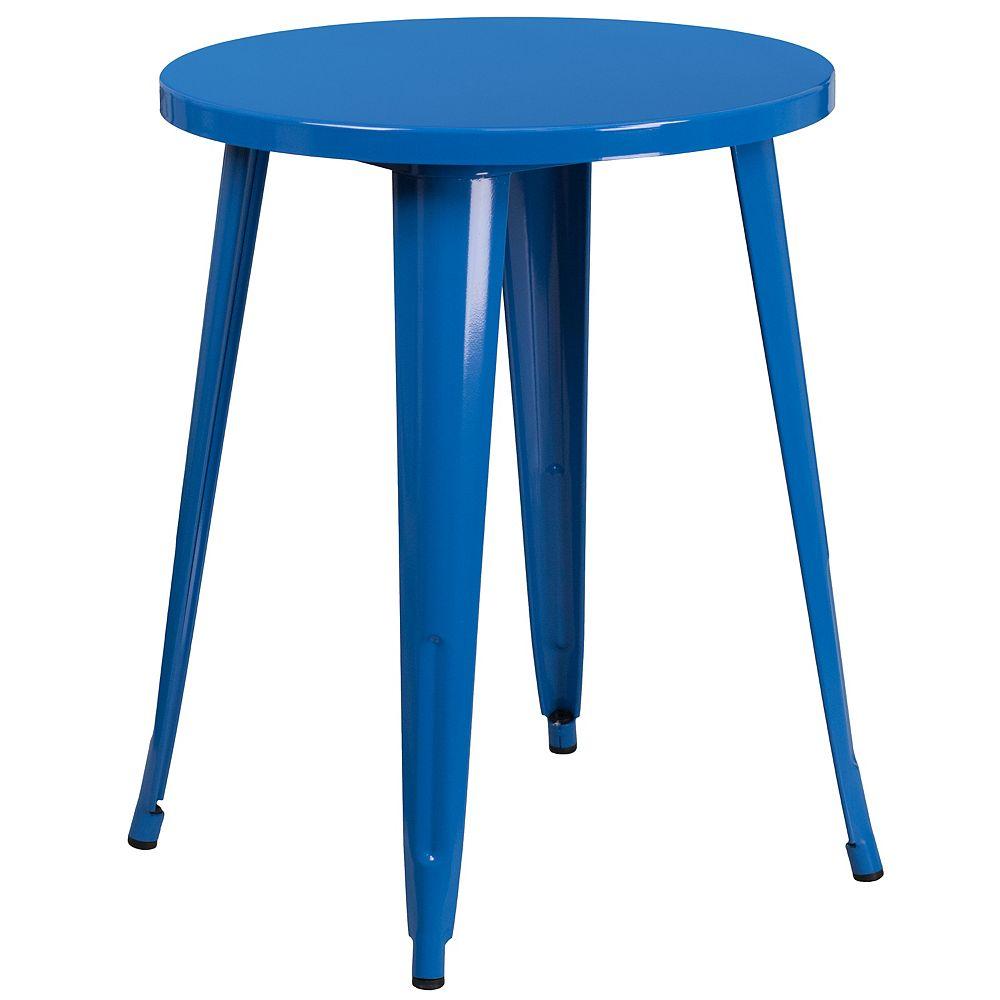Flash Furniture Table intérieure-extérieure en métal bleu ronde de 24 pouces