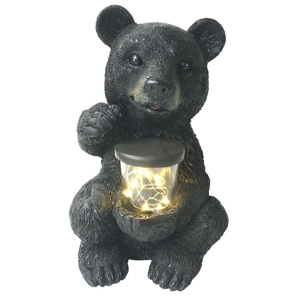 Angelo Décor 10-inch Comp-Cast Bear with Solar Light Statue