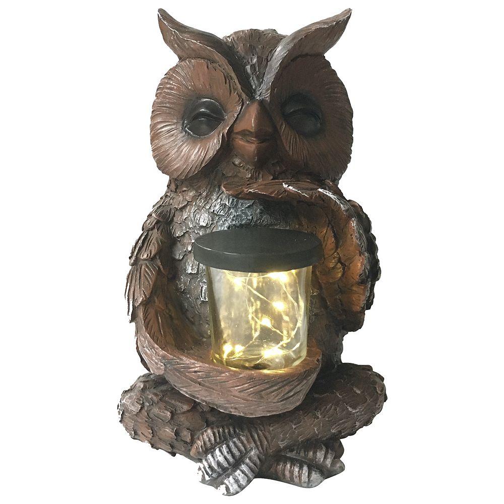 Angelo Décor 10-inch Comp-Cast Owl with Solar Light Statue