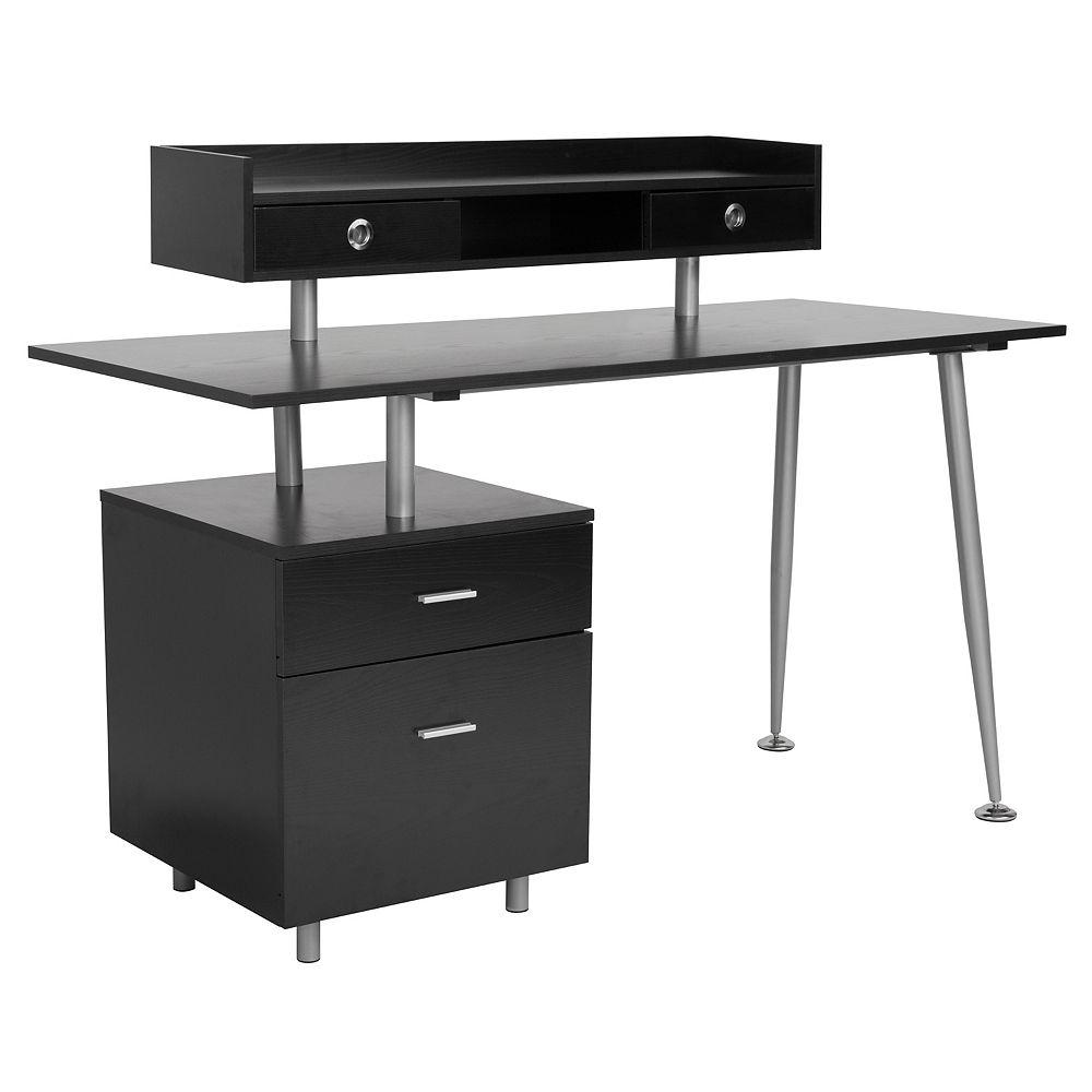 Flash Furniture Dark Ash Desk with Drawers