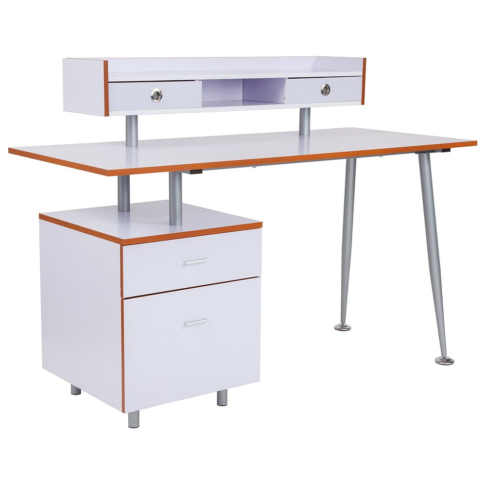 Flash Furniture White Desk with Drawers