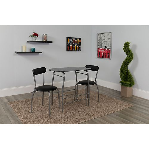 3PC Black Glass Bistro
