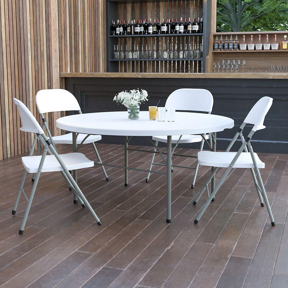 Flash Furniture 60RD White Bi-Fold Table