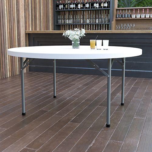 Table pliante en plastique blanc granite ronde de 60 po
