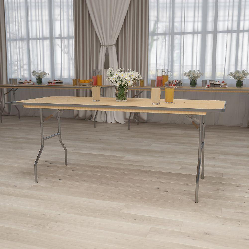 Flash Furniture 30x72 Wood Fold Table-Met Edge