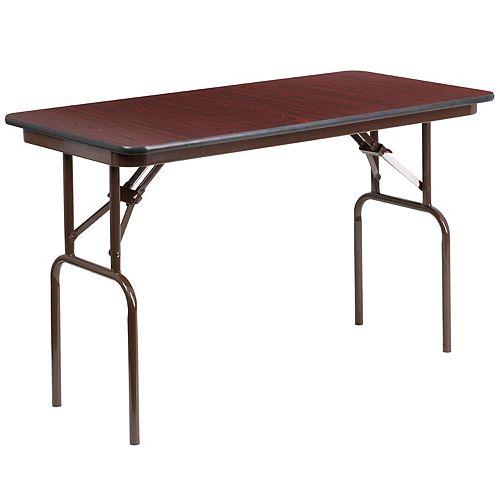 Table de banquet rectangulaire de 24 x 48 po, pliante en stratifié dacajou haute pression